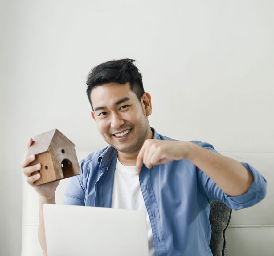 Man with house
